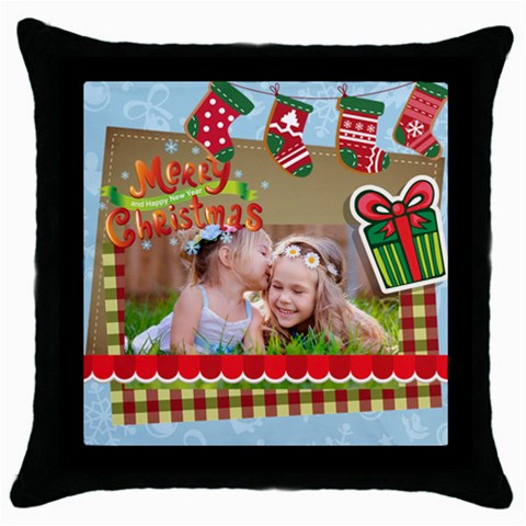 Xmas By Xmas   Throw Pillow Case (black)   H7as7k8d4uaw   Www Artscow Com Front