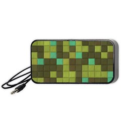 Green Tiles Pattern Portable Speaker by LalyLauraFLM