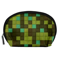Green Tiles Pattern Accessory Pouch by LalyLauraFLM