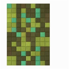 Green Tiles Pattern Small Garden Flag by LalyLauraFLM