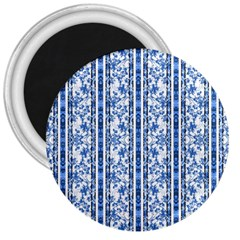 Chinoiserie Striped Floral Print 3  Magnets by dflcprints