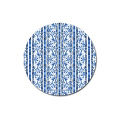 Chinoiserie Striped Floral Print Magnet 3  (round) by dflcprints