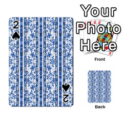 Chinoiserie Striped Floral Print Playing Cards 54 Designs  by dflcprints