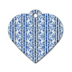 Chinoiserie Striped Floral Print Dog Tag Heart (one Side) by dflcprints