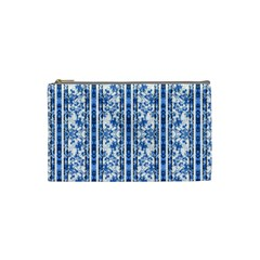 Chinoiserie Striped Floral Print Cosmetic Bag (Small)  by dflcprints