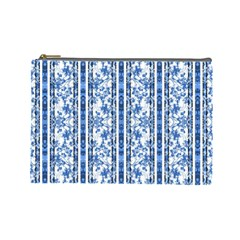 Chinoiserie Striped Floral Print Cosmetic Bag (large)  by dflcprints