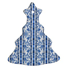 Chinoiserie Striped Floral Print Ornament (christmas Tree) by dflcprints