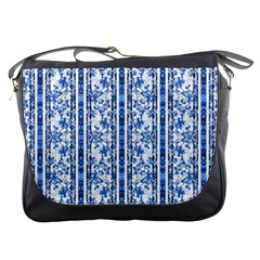 Chinoiserie Striped Floral Print Messenger Bags by dflcprints