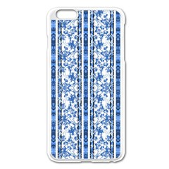 Chinoiserie Striped Floral Print Apple Iphone 6 Plus Enamel White Case by dflcprints