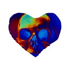 Skull Standard 16  Premium Flano Heart Shape Cushions by icarusismartdesigns