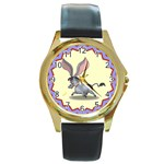 Big ears Round Gold Metal Watch