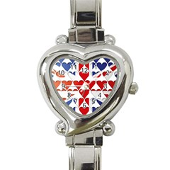 Uk Hearts Flag Heart Italian Charm Watch by theimagezone