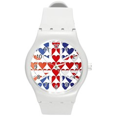 Uk Hearts Flag Round Plastic Sport Watch (m) by theimagezone