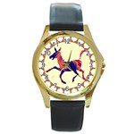 Funny Donkey Round Gold Metal Watch