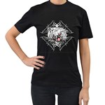 white tiger Women s Black T-Shirt