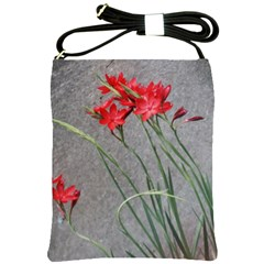 Red Flowers Shoulder Sling Bags by DeneWestUK