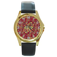Oriental Floral Print Round Gold Metal Watches by dflcprints