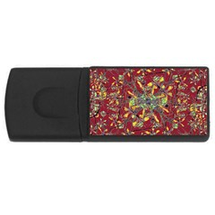 Oriental Floral Print Usb Flash Drive Rectangular (4 Gb)  by dflcprints