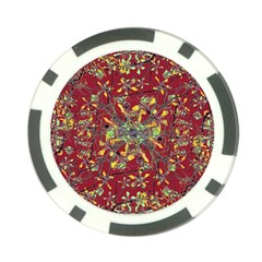 Oriental Floral Print Poker Chip Card Guards by dflcprints