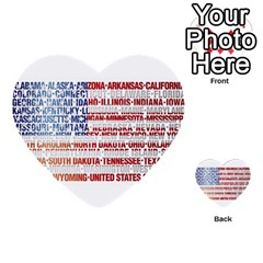 Usa States Flag Multi Purpose Cards (heart)  by theimagezone