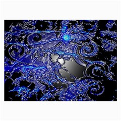 Blue Silver Swirls Collage 12  X 18  by LokisStuffnMore
