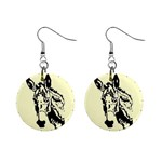 Donkey head 1  Button Earrings
