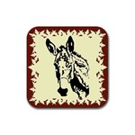Donkey head Rubber Square Coaster (4 pack)