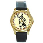 Donkey head Round Gold Metal Watch