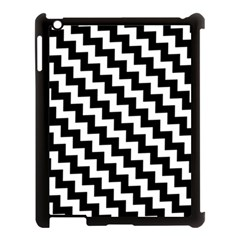 Black And White Zigzag Apple Ipad 3/4 Case (black) by ElenaIndolfiStyle