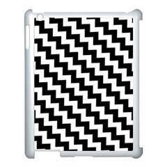 Black And White Zigzag Apple Ipad 3/4 Case (white) by ElenaIndolfiStyle