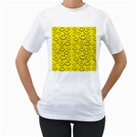 Smiley Face Women s T-Shirt (White) (Two Sided)