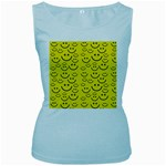 Smiley Face Women s Baby Blue Tank Top