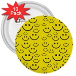 Smiley Face 3  Button (10 pack)