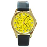 Smiley Face Round Gold Metal Watch