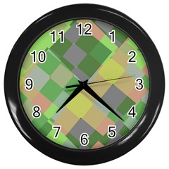 Squares And Other Shapes Wall Clock (black) by LalyLauraFLM
