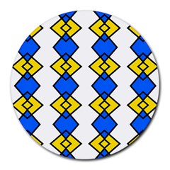 Blue Yellow Rhombus Pattern Round Mousepad by LalyLauraFLM