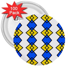 Blue Yellow Rhombus Pattern 3  Button (100 Pack) by LalyLauraFLM