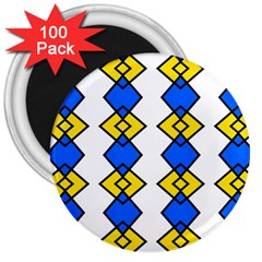 Blue Yellow Rhombus Pattern 3  Magnet (100 Pack) by LalyLauraFLM
