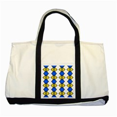 Blue Yellow Rhombus Pattern Two Tone Tote Bag by LalyLauraFLM