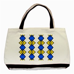 Blue Yellow Rhombus Pattern Basic Tote Bag (two Sides) by LalyLauraFLM
