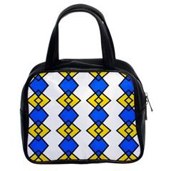 Blue Yellow Rhombus Pattern Classic Handbag (two Sides) by LalyLauraFLM