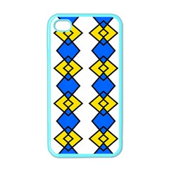Blue Yellow Rhombus Pattern Apple Iphone 4 Case (color) by LalyLauraFLM