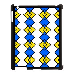 Blue Yellow Rhombus Pattern Apple Ipad 3/4 Case (black) by LalyLauraFLM