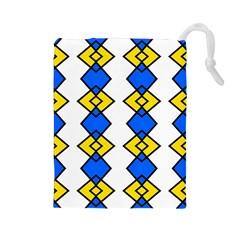 Blue Yellow Rhombus Pattern Drawstring Pouch