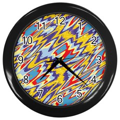 Colorful Chaos Wall Clock (black) by LalyLauraFLM