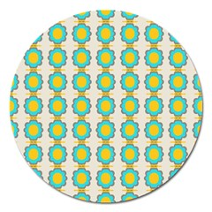 Blue Flowers Pattern Magnet 5  (round) by LalyLauraFLM