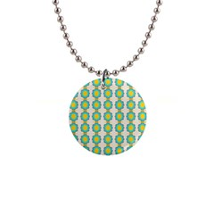 Blue Flowers Pattern 1  Button Necklace by LalyLauraFLM