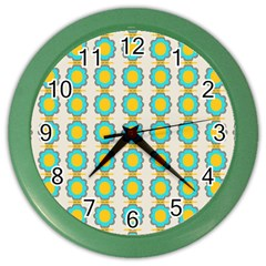 Blue Flowers Pattern Color Wall Clock by LalyLauraFLM