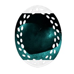 Teal Heart Oval Filigree Ornament (2 Side)  by timelessartoncanvas