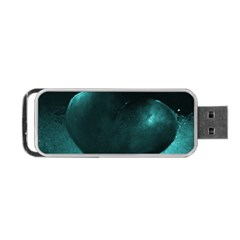 Teal Heart Portable Usb Flash (two Sides)